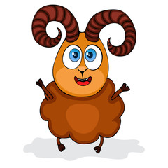Cartoon funny ram, painted character, isolated on white background, vector drawing