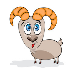 Cartoon funny goat, painted character, isolated on white background, vector drawing