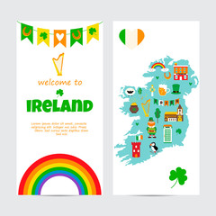 Background template with tourist map of Ireland with landmarks, symbols and text.