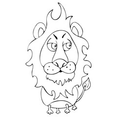 Cartoon funny lion for coloring book isolated on white background, vector black and white hand drawing, monochrome