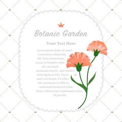 Colorful watercolor texture vector nature botanic garden memo frame orange carnations