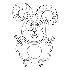 Cartoon funny ram for coloring book isolated on white background, vector black and white hand drawing, monochrome