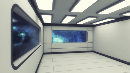 3d rendering. Futuristic interior design background