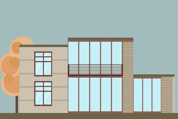 Modern architecture facade building vector illustration big glass windows