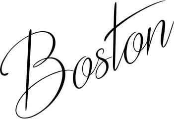 Boston text sign illustraion