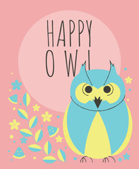 Cute owl with flowers and plants greeting card