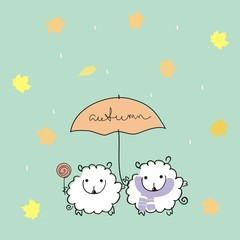 """sheep under an umbrella with a handwritten inscription """"autumn"""". with rain and maple leaves. Autumn illustration"""