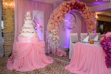 White wedding cake with flower