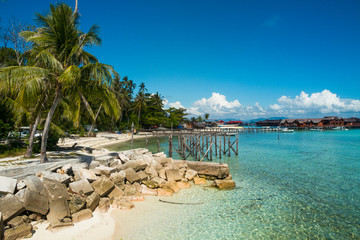White sand on the beach and palm trees, paradise island, mabul island in borneo