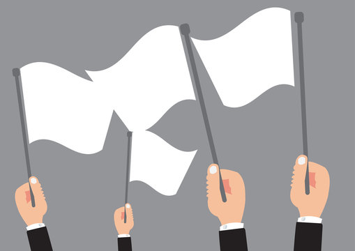 Multiple business hand holding the white flag - Surrender sign symbol of concept design with simple vector