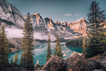 Glacial lake in snowy mountains