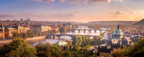 Poster Praag Prague sunset from Letna