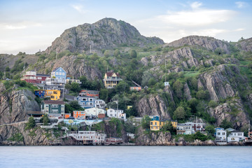 Poster Canada Wooden residential house built on steep hills of St. John's, Newfoundland, Canada