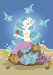 Vector drawing of a mermaid with blue hair that is mending on the stone and combing her hair