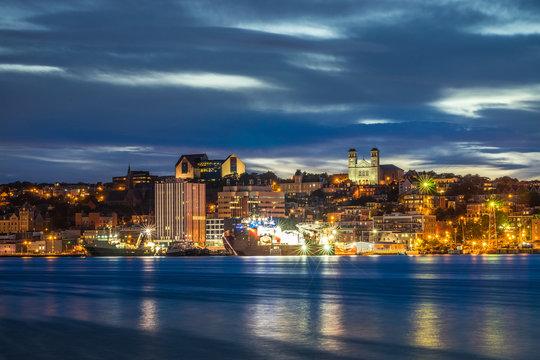 St John's cityscape at the evening, Newfoundland, Canada