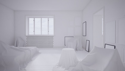 3d rendering of a white bedroom with furniture covered by sheets.