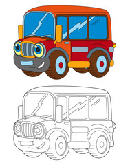 Cartoon happy and funny cartoon bus looking and smiling - coloring page / illustration for children