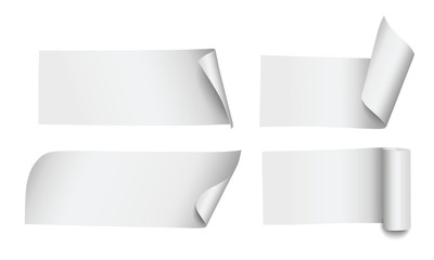 Set of four blank vector paper stripes or banners with rolled corners and edges isolated on white background