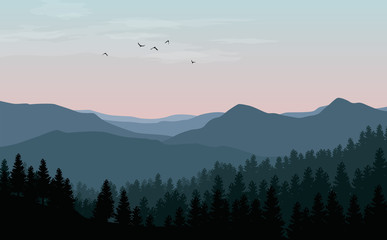 Photo sur Aluminium Bleu vert Vector landscape with blue silhouettes of mountains, hills and forest with sunset or dawn pink sky