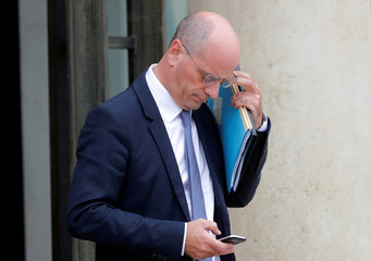 French Minister of National Education Jean-Michel Blanquer leaves after the first cabinet meeting after the summer break, at the Elysee Palace in Paris