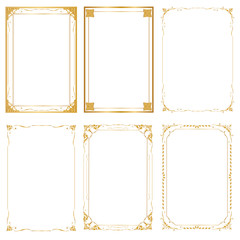 Set Decorative frame and borders, Golden frame on white background. Thai pattern