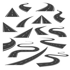 Big set of asphalt road curves, turns, bankings, and perspectives. Bending road, highway or roadway vector illustration. Collection of winding road design elements with white markings.