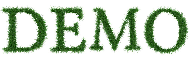Demo - 3D rendering fresh Grass letters isolated on whhite background.