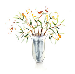 Plant in white vase. Sketch. Watercolor hand drawn illustration
