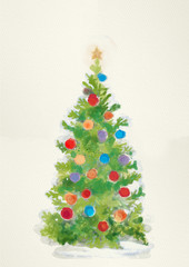 Christmas tree. Watercolor illustration