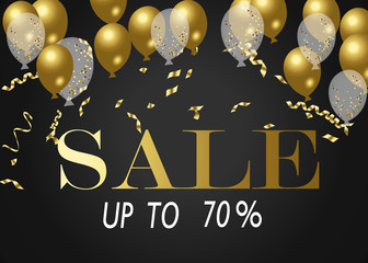 Sale Poster with Shiny Balloons Background with Square Frame. Vector illustration.