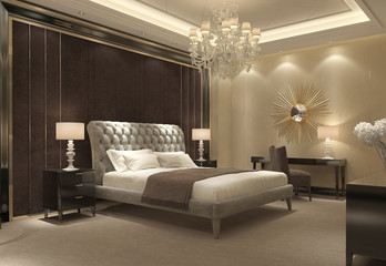 Chic classic luxury bedroom interior perspective view Wall mural