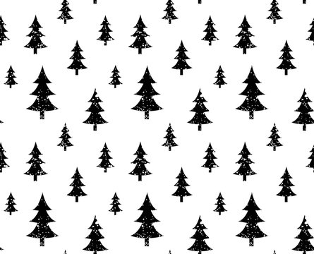 Vector xmas pattern with christmas black trees