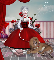 Zodiac series inspired by Marie Antoinette - Leo as a baroque woman with lion