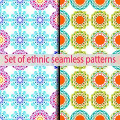 Set of ethnic seamless patterns (blue, green, orange, brown, violet, pink).