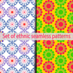 Set of ethnic seamless patterns (violet, green, blue, red).