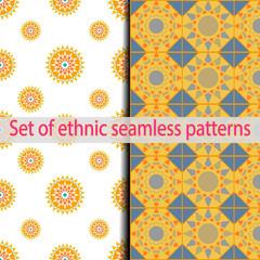 Set of ethnic seamless patterns (blue, green, orange, red, gray).