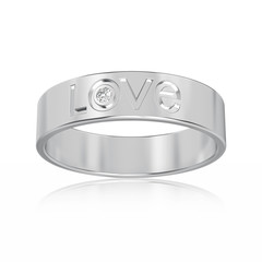 3D illustration isolated white gold or silver engagement ring with diamond and love word with reflection