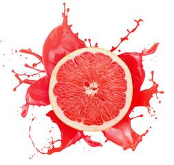 grapefruit with juice splash isolated on a white background