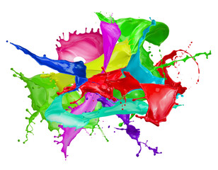 Fototapete - color splashes isolated on a white background