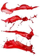 Fototapete - red paint splashes isolated on a white background