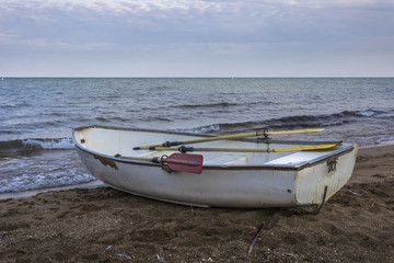Boat resting on a beach