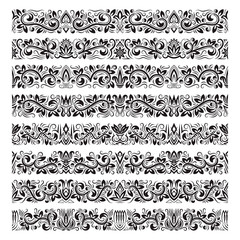 Set of vintage border brushes templates. Baroque floral elements for frames design and page decorations.