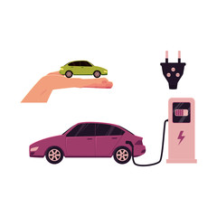 vector flat cartoon electric motor passenger car charging at the charger station plugged, power plug, Green energy consuming vehicle on hand palm set. Isolated illustration on a white background.