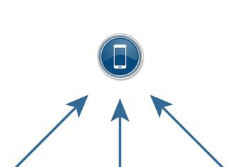 Pfeile zeigen auf Button - Smartphone