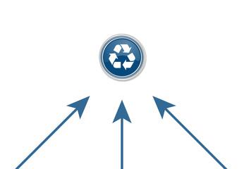 Pfeile zeigen auf Button - Recycling-Symbol