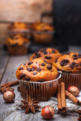 Homemade chocolate chip muffins for breakfast