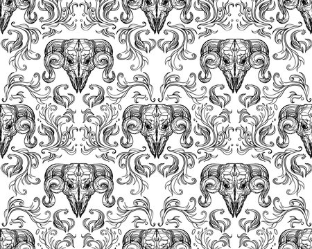 Ornamental hand drawn pattern illustration with abstract vignette elements and horned animal skull. Black and white tile wallpaper. Ink vintage victorian baroque style. Tattoo textile, clothes fabric,