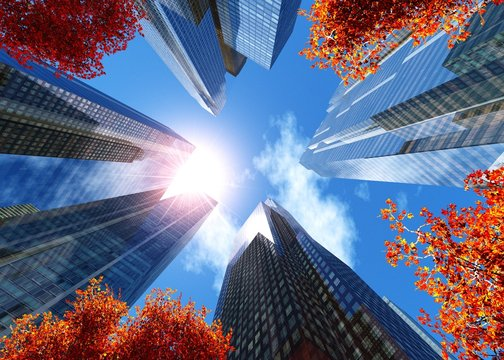 skyscrapers in the autumn city, modern buildings against the sky in the autumn, 3d rendering