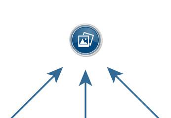 Pfeile zeigen auf Button - Galerie-Symbol