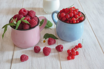 Raspberries and red currents